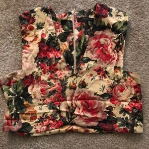Zara Woman Floral Crop Top Size Medium